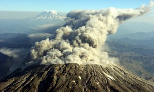 The eruption of Mount St. Helens in Washington state in October 2004.